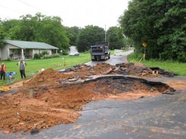 Sinkhole follows water main break on E. Cherokee Drive  Read more: Cherokee Tribune - Sinkhole follows water main break on E Cherokee Drive